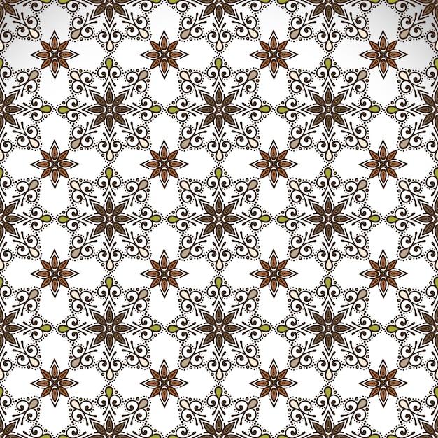 インドの花のペイズリーメダリオンのパターン 無料ベクター
