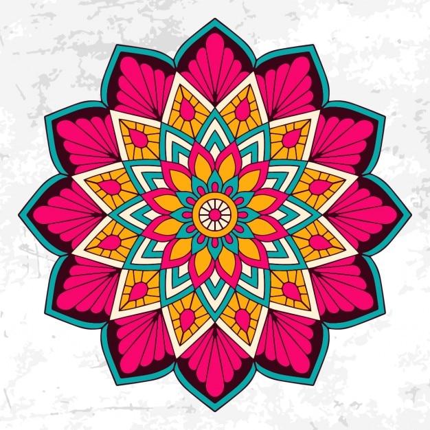 花の飾りとカラフルな曼荼羅 無料ベクター