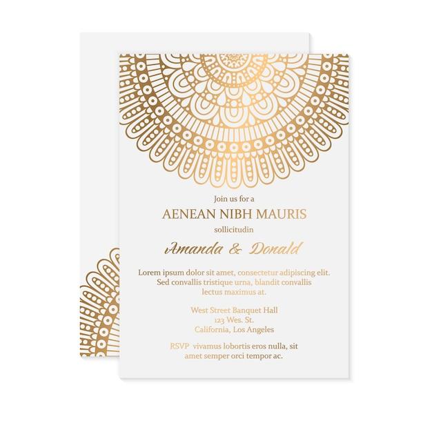 豪華な結婚式の招待状 無料ベクター