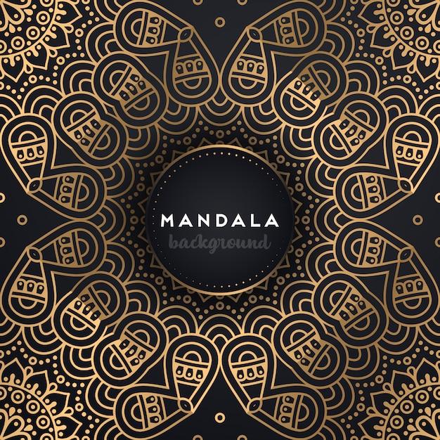 マンダラとゴールドの背景 無料ベクター