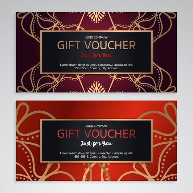 Векторный набор роскошных красных подарочных сертификатов Бесплатные векторы