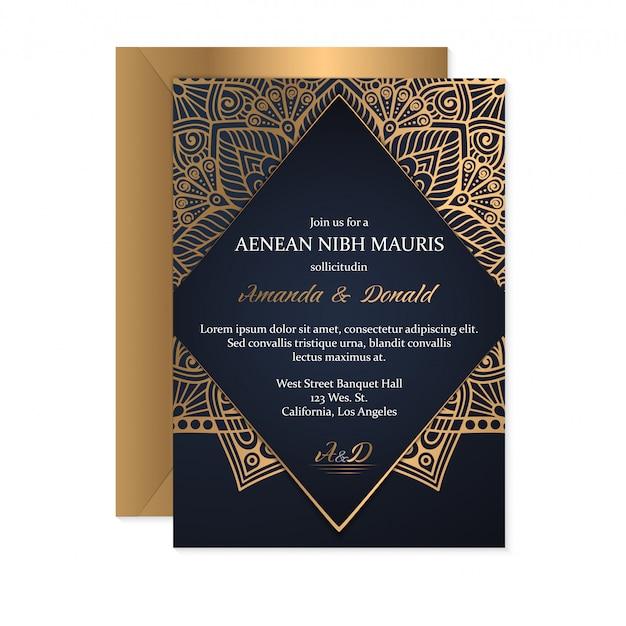 金の結婚式の招待状カードのテンプレート 無料ベクター