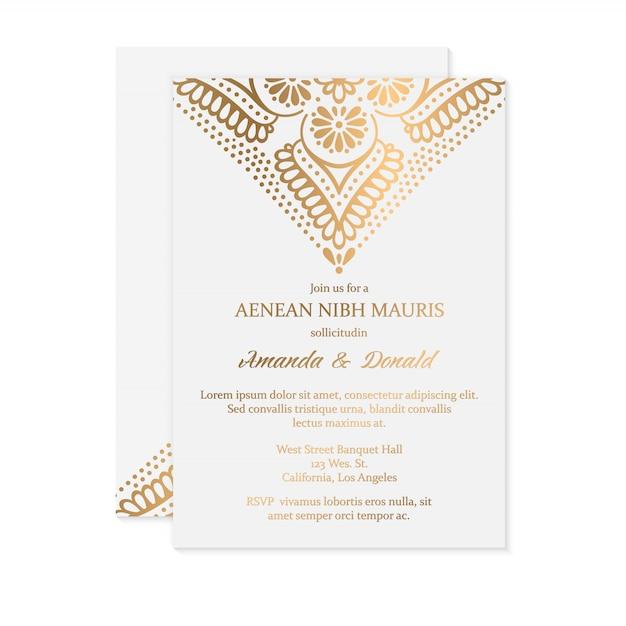 Роскошное свадебное приглашение Бесплатные векторы