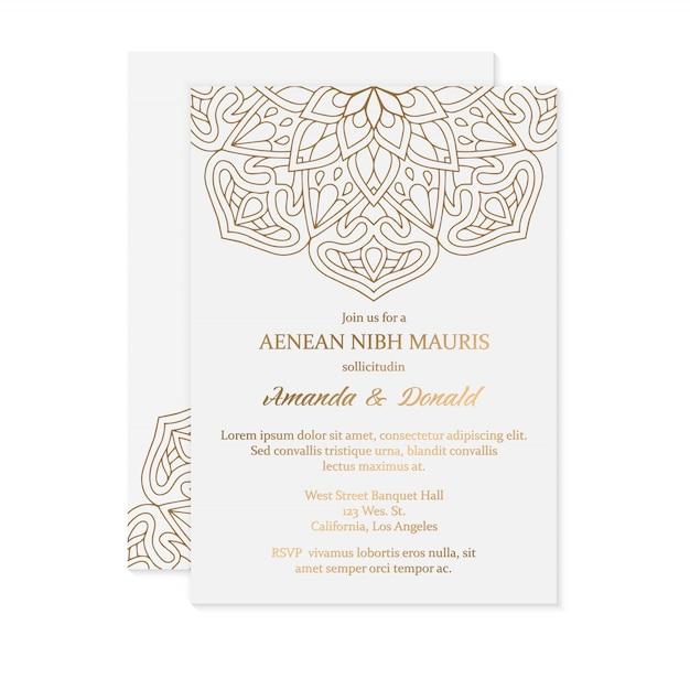 豪華な結婚式の招待カードのテンプレート 無料ベクター