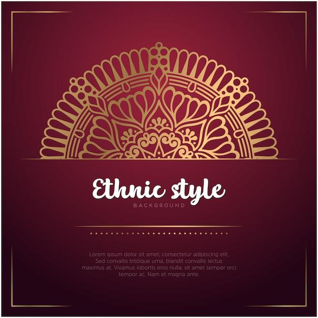 Этнический стиль фона с мандалы и текстового шаблона, красный и золотой цвет Бесплатные векторы