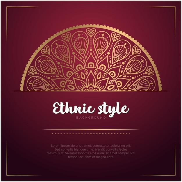 Этнический стиль фона с мандалы и текстового шаблона Бесплатные векторы