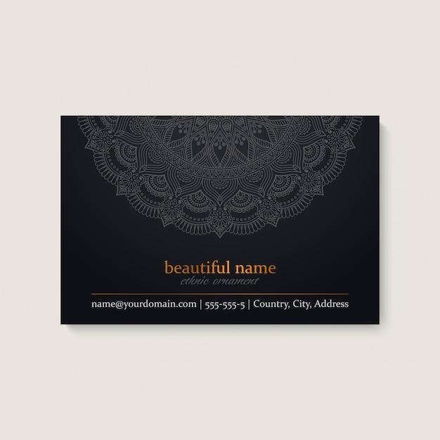 Шаблон визитной карточки с этническим дизайном мандалы Бесплатные векторы