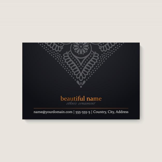 民族のマンダラデザインの名刺テンプレート 無料ベクター