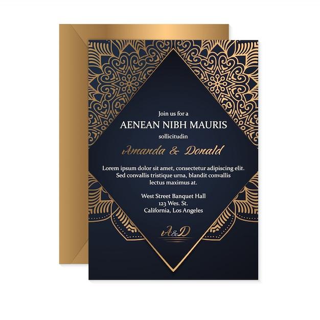 エスニックスタイル、オリエンタルデザインの結婚式の招待カードテンプレート Premiumベクター