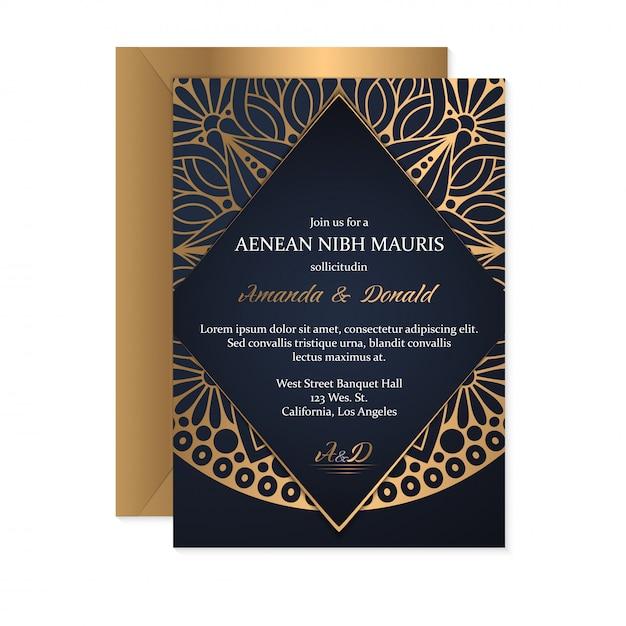 エスニックスタイル、オリエンタルデザインの結婚式の招待カードテンプレート 無料ベクター