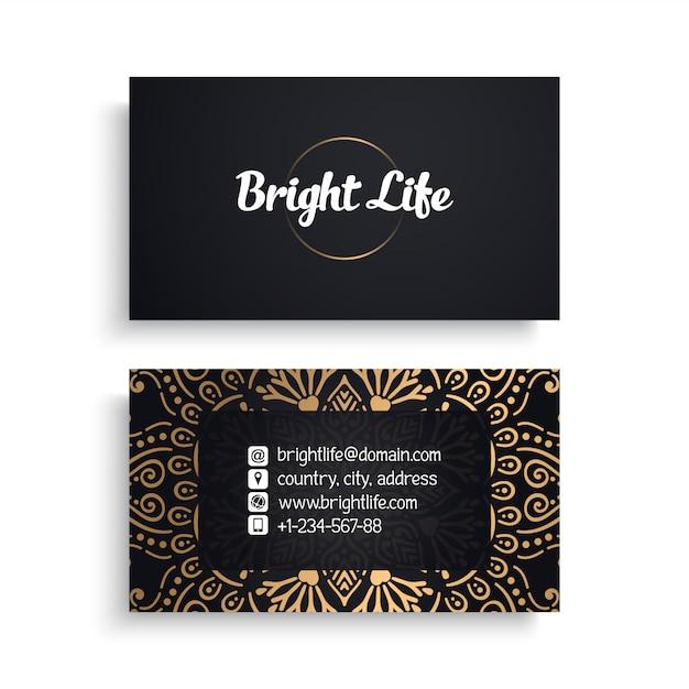Корпоративный шаблон визитной карточки с этническим дизайном класса люкс Бесплатные векторы