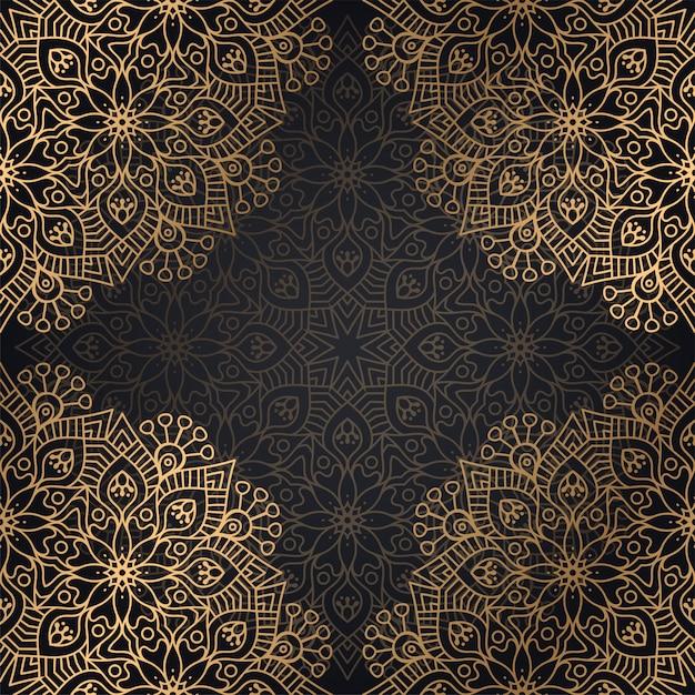 黒と金色のマンダラのシームレスなパターン背景デザイン 無料ベクター