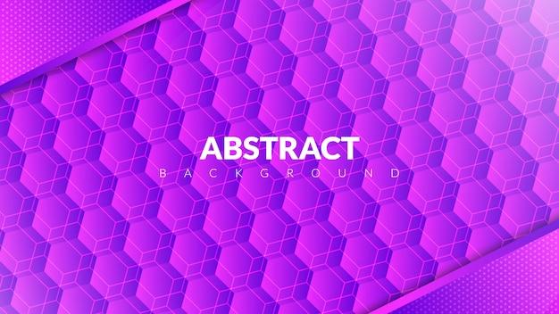 Абстрактный фон с концепцией шестиугольника в фиолетовый градиент Premium векторы