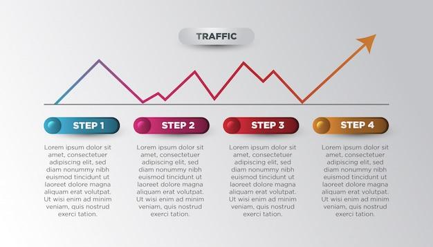 カラフルなグラデーションの統計的矢印でモダンなビジネスインフォグラフィック Premiumベクター