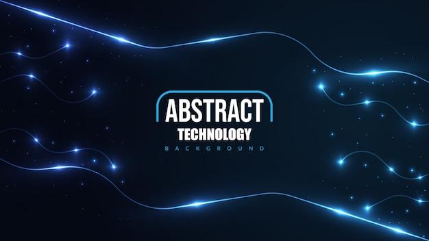 輝くネオンの光と抽象的な未来技術の背景。 Premiumベクター