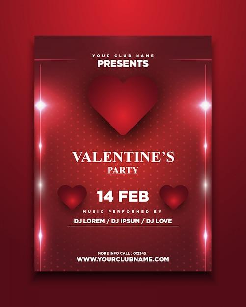 Пригласительный билет на день святого валентина со светящимися Premium векторы