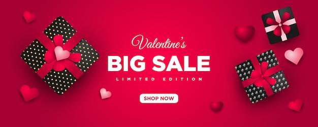 ハートとギフトのバレンタインプロモーション販売バナー Premiumベクター