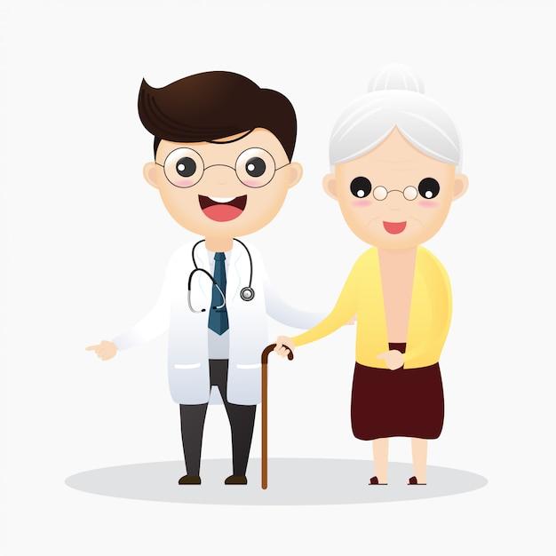 Уход за пожилыми людьми. доктор и и старая женщина Premium векторы