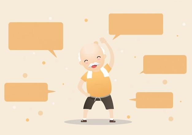 Пожилые люди делают упражнения с пузыри речи. Premium векторы