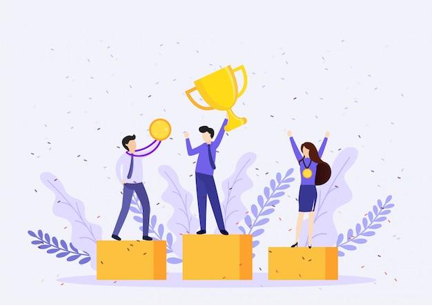 Бизнесмен холдинг победы трофей. концепция победы. Premium векторы