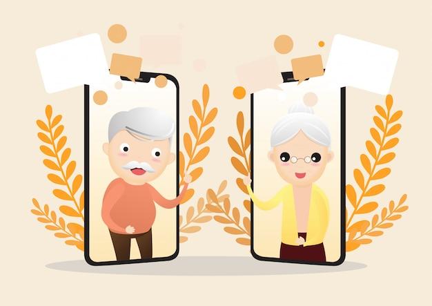 スマートフォンを持つ高齢者の文字のベクトルイラスト。スマートフォンのビデオ通話を使用して高齢者家族カップル男女のコミュニケーション。高齢者が話しています。 Premiumベクター