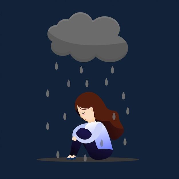 Женщина депрессии концепции. Premium векторы