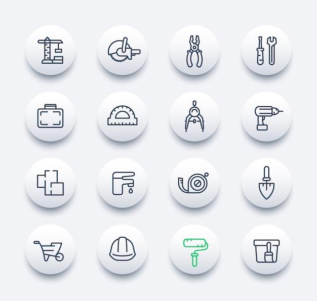 Набор иконок для строительства и ремонта в линейном стиле Premium векторы