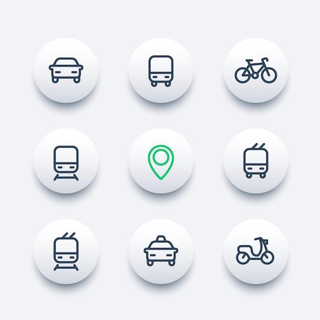 Городской и общественный транспорт круглые современные иконы, векторные иконки общественного транспорта, автобус, метро, такси, пиктограммы общественного транспорта, набор иконок толстая линия, Premium векторы