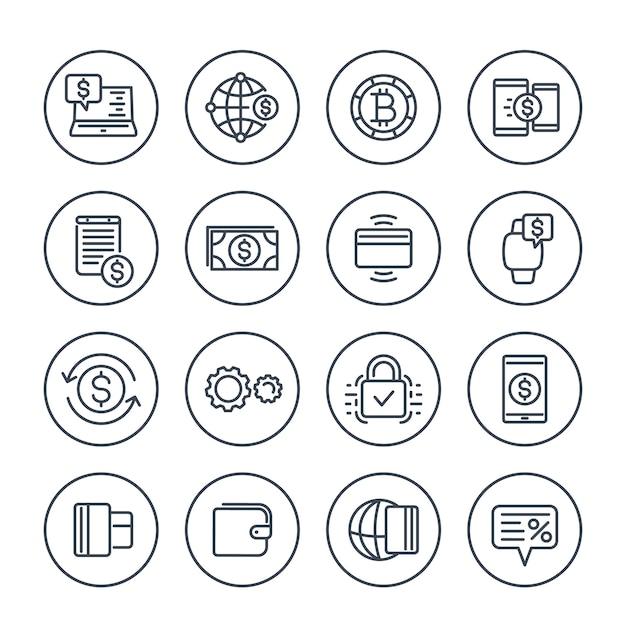 支払い方法とインターネットバンキングのアイコンは線形スタイルで白に設定 Premiumベクター