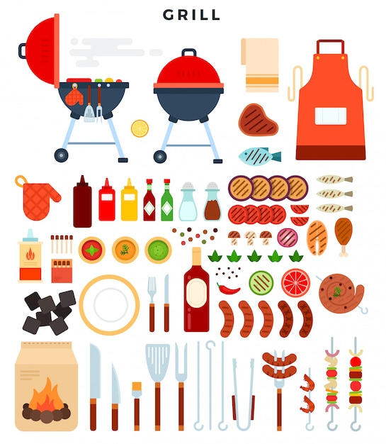 グリルのためのすべて、要素の大きなセット。バーベキューパーティーのためのさまざまな特別なツールや食べ物。 Premiumベクター