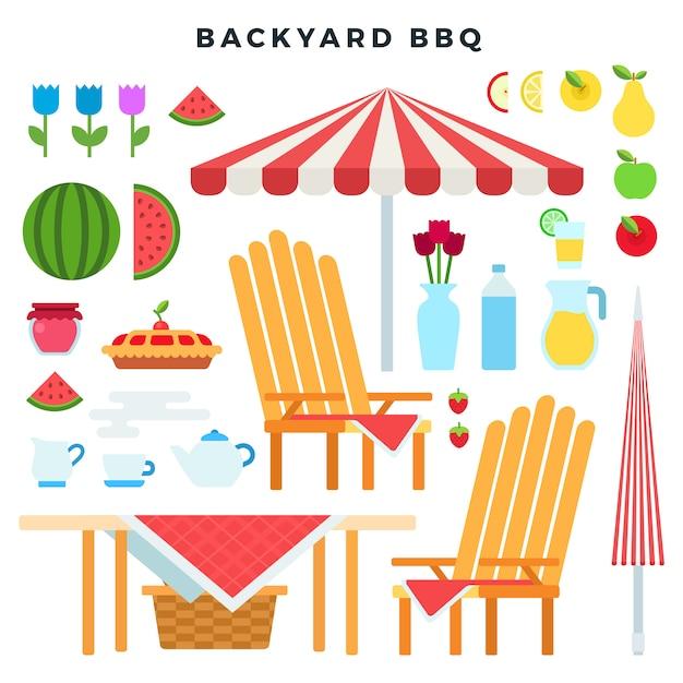 Мебель для пикника и еда, набор красочных элементов плоского стиля. атрибутика для барбекю на заднем дворе. векторная иллюстрация Premium векторы