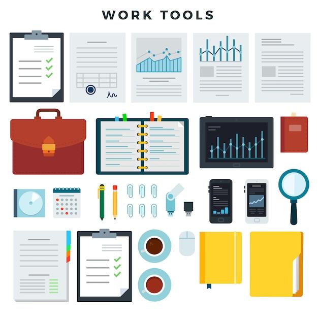 事務作業ツール事務処理およびビジネス作業要素、設定します。モバイル機器と文書ベクトルイラスト Premiumベクター
