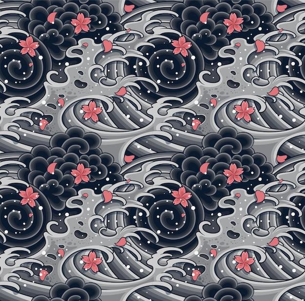 桜のシームレスなパターンを持つ日本の波。 Premiumベクター