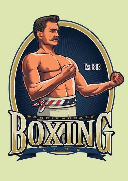 ビンテージボクシングのロゴのテンプレート Premiumベクター