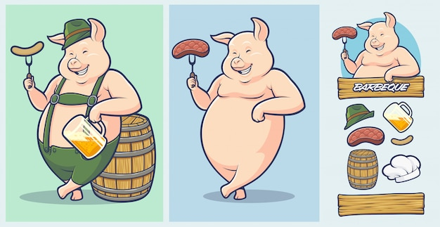 オクトーバーフェスト豚マスコット、バーベキューとステーキハウス用の追加要素。 Premiumベクター