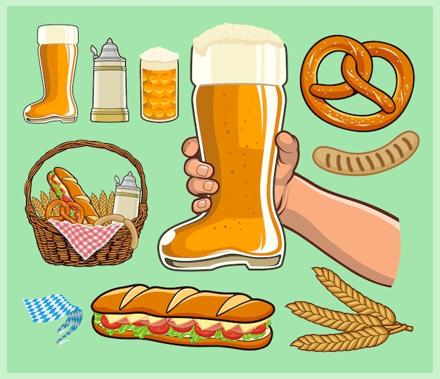 オクトーバーフェスト、ビールブーツグラス、ビールスタインマグカップ、食べ物と飲み物のバスケット Premiumベクター