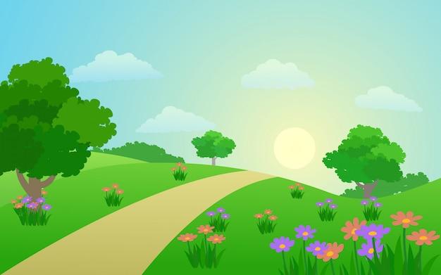 フラワーガーデンと歩道の美しい春の風景 Premiumベクター