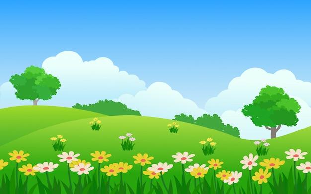 緑豊かな公園に色とりどりの花で春の風景 Premiumベクター