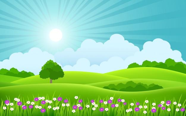 色とりどりの花と太陽光線の美しい春の風景 Premiumベクター