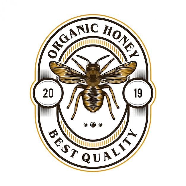 蜂蜜製品やミツバチ農場のロゴ Premiumベクター