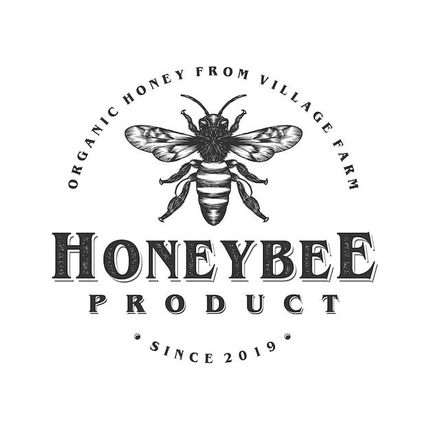 蜂蜜製品やミツバチ農場のロゴデザイン Premiumベクター