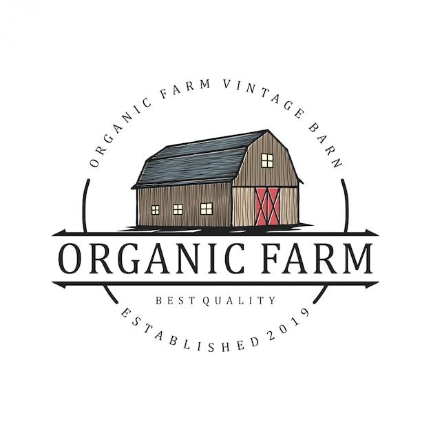 Логотип для сельского хозяйства с элементом сарая Premium векторы