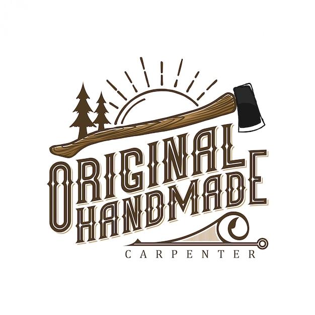Старинный логотип для плотников с элементами топора и дерева Premium векторы