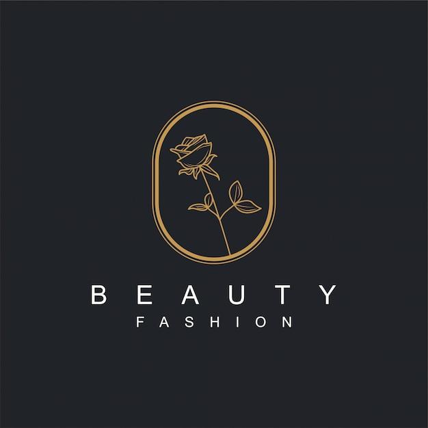 美容またはスパ製品および他の必要性のための金と花のロゴ Premiumベクター