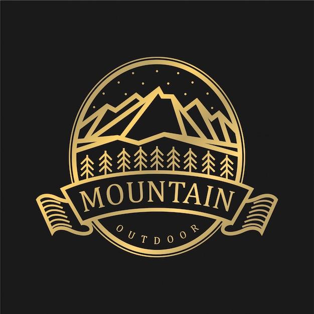 山の要素を持つ屋外のためのビンテージのロゴ Premiumベクター