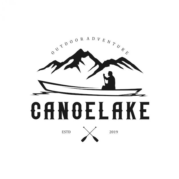 山の要素とカヌーと屋外のロゴ Premiumベクター