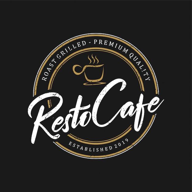 レストランの食べ物や飲み物のビンテージロゴ Premiumベクター