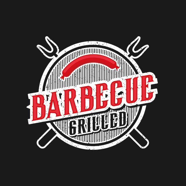 ビンテージスタイルのバーベキューレストランのロゴ Premiumベクター