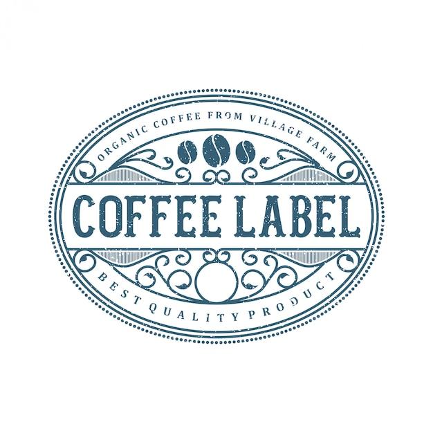 コーヒーと食品飲料のラベルのロゴ Premiumベクター