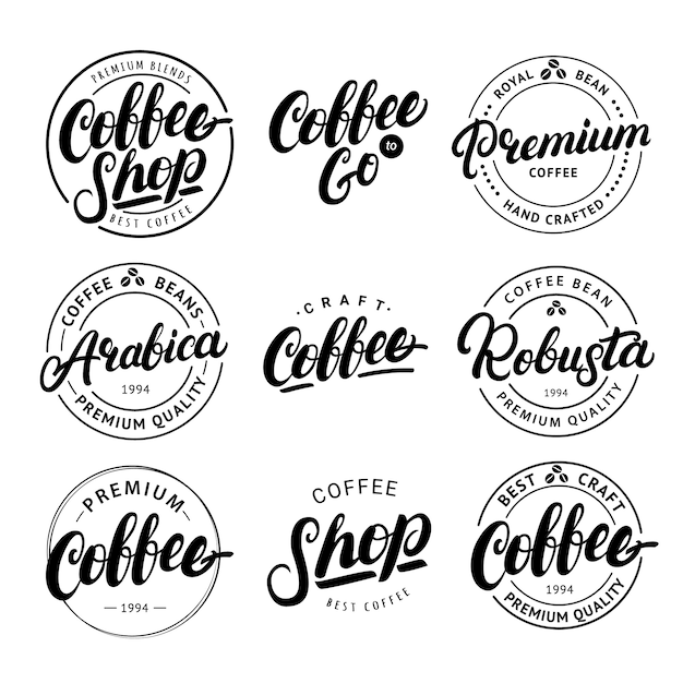 コーヒー手書きレタリングのセット Premiumベクター